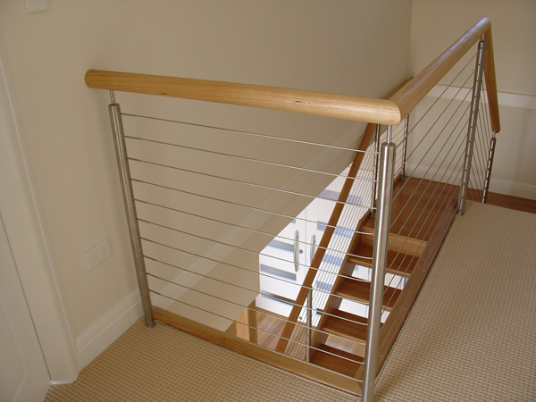 5: An Open Rise Blackbutt Stair With Stainless Steel Posts And Cabling And  Blackbutt Handrails.