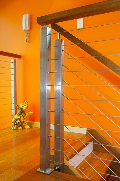 Spotted gum open riser stairs stainless steel posts h spotted